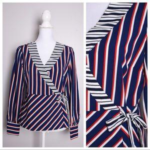 Paraphrase Stripe Wrap Long Sleeve Top W/ Bow